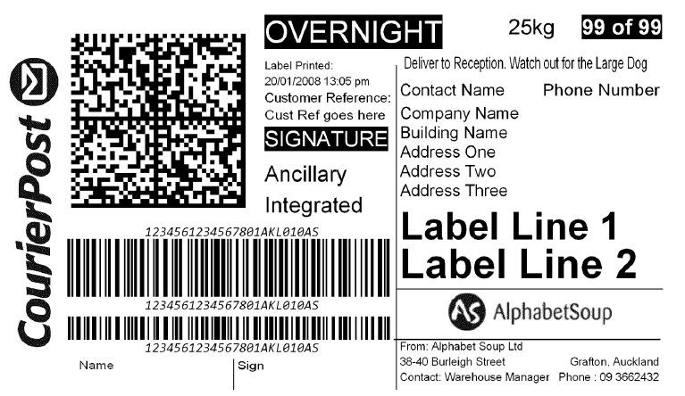 Creating one dimensional barcodes for courier post labels for Post it labels templates