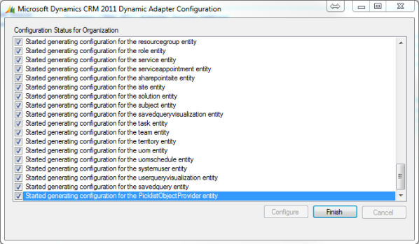 Microsoft Dynamics CRM 2011 Instance Adapter Part 3 Connector Configuration