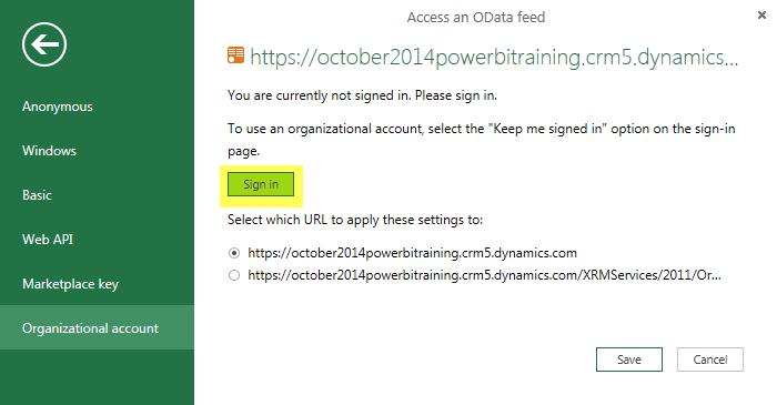 Power BI Microsoft Dynamics CRM 2013 – Part 2