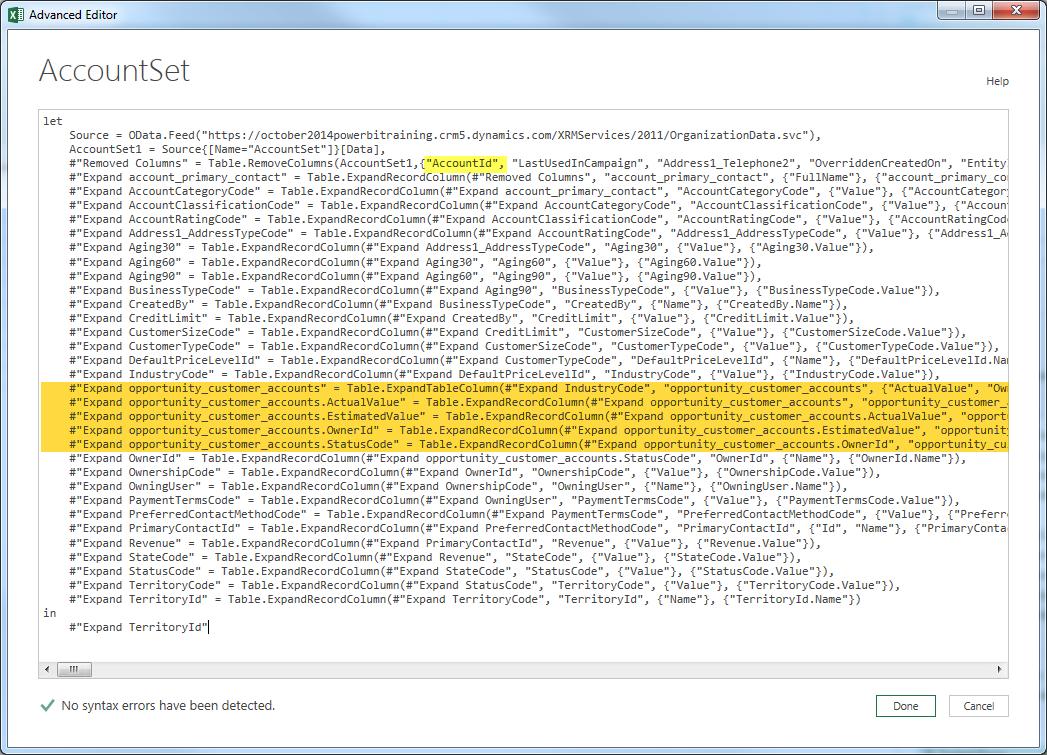 Power BI Microsoft Dynamics CRM 2013 – Part 9