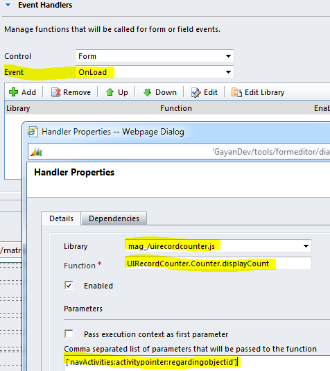 Dynamics CRM 2011 UI Navigation Record Counter