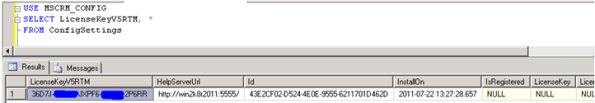 Microsoft CRM 2011 MSCRMCONFIG Database Stores Your License Key