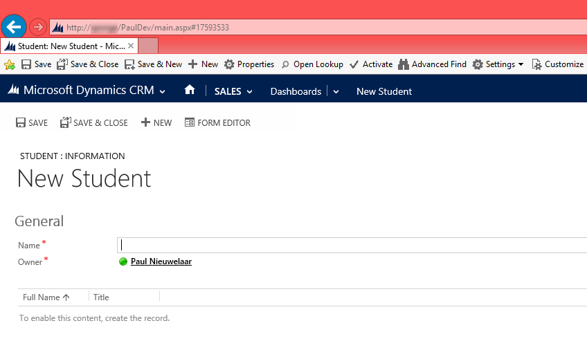 Create New Records from Anywhere in CRM 2013 with Bookmarklet