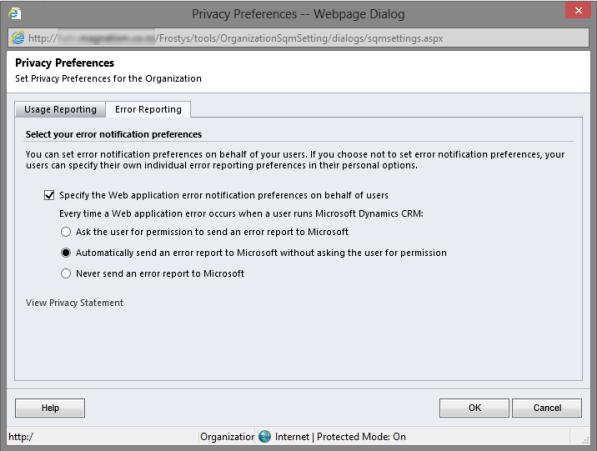 Globally Define Error Report Preferences Dynamics CRM 2011
