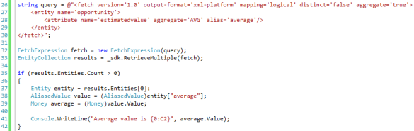 Aggregate Fetch XML Queries in Dynamics CRM 2011 AVG