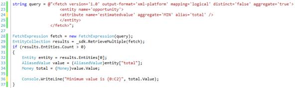 Aggregate Fetch XML Queries in Dynamics CRM 2011 - MIN