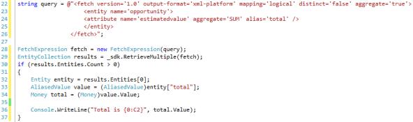 Aggregate Fetch XML Queries in Dynamics CRM 2011 - SUM