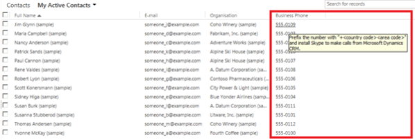 Calling Your Dynamics CRM Customers with Skype