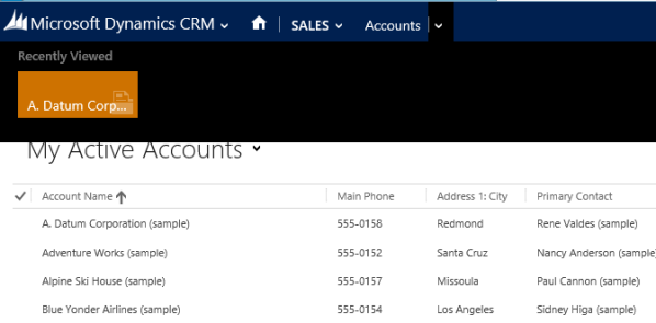 CRM 2013 Recently Viewed Records