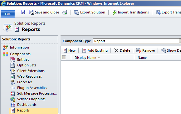 Disappearing Reports from a Dynamics CRM 2011 Solution