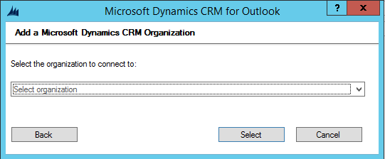 Microsoft Dynamics CRM for Outlook 2015 Configuration Wizard