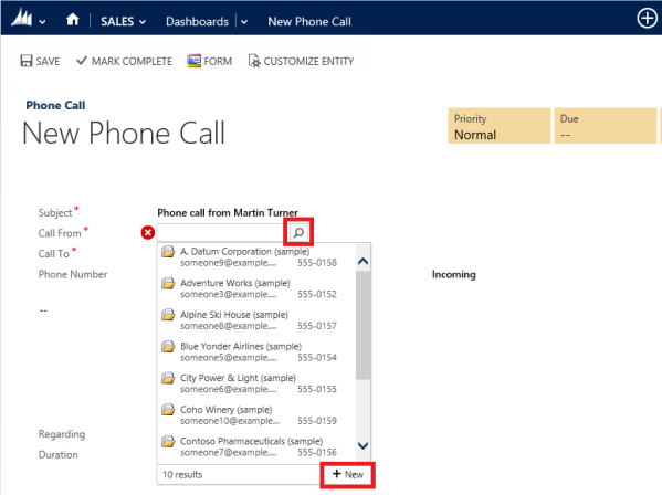 Quickly Create Records in CRM 2013