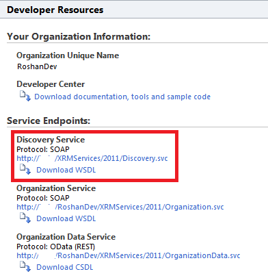 The Microsoft Dynamics CRM 2011 Discovery Service