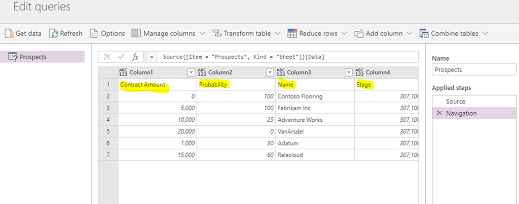 Importing data from Excel into the Common Data Services using Power