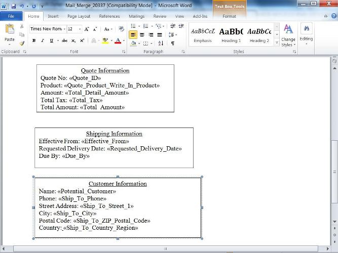 Dynamics CRM 2011, Mail Merge Templates showing Quote Information