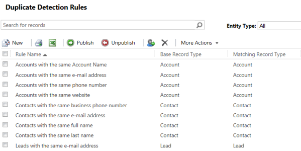Duplicate Detection during Record Create and Update Operations Not