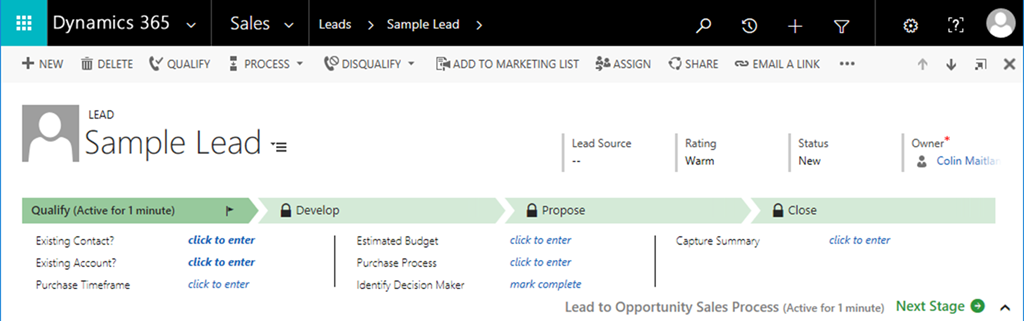 Business Process Flow Specific Entities in Microsoft Dynamics 365