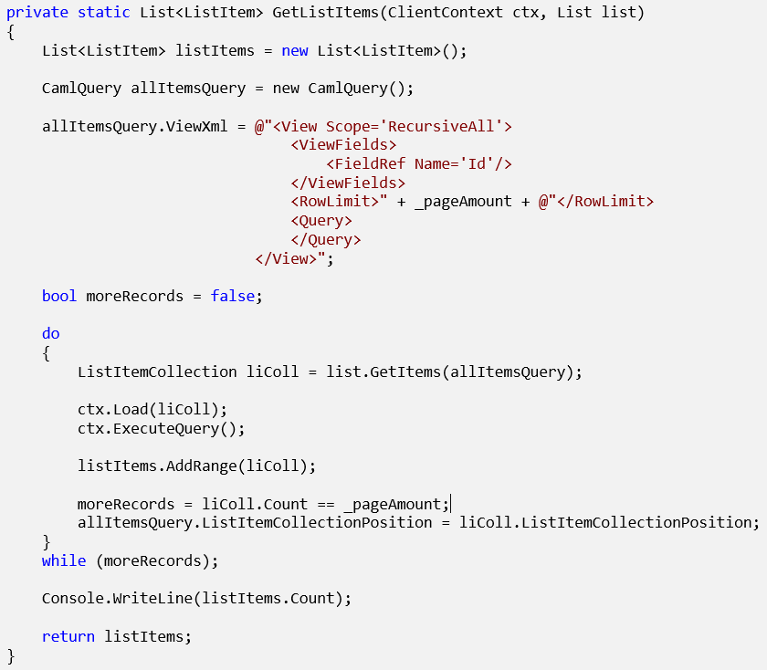 Paging Caml Queries in C# - Microsoft SharePoint Online | Magnetism