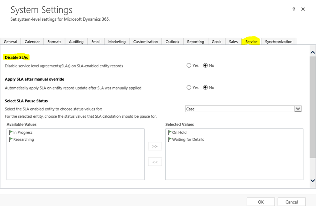 Create a Service Level Agreement for Cases in Microsoft