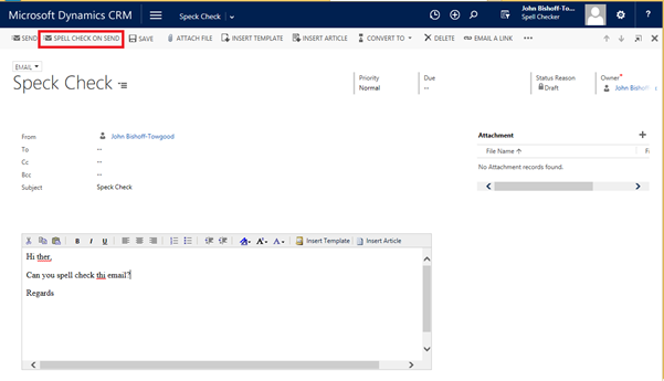 Spell checking on send of an Email in CRM 2016 using Speckie