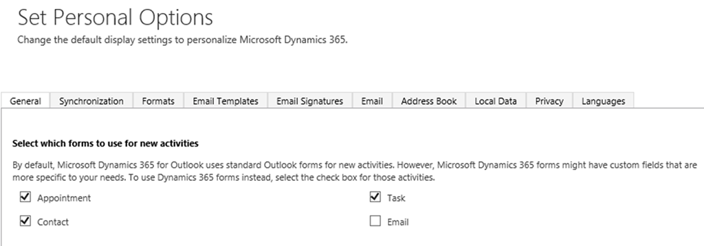 how to use dynamics 365 appointment form on outlook client